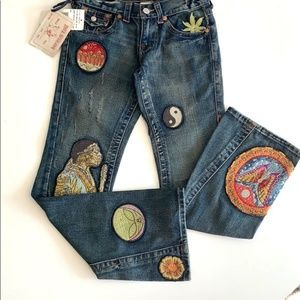 True Religion Joey Society Club Flares Patches NWT
